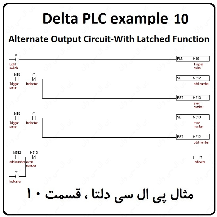 مثال PLC دلتا – Alternate Output Circuit-With Latched Function 10